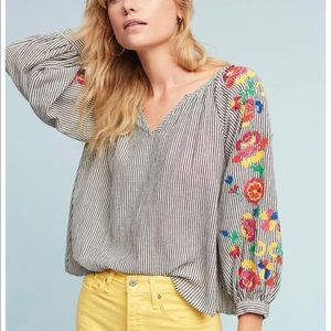 Anthropologie striped blouse with embroidery